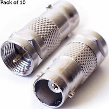 10 x tipo F Conector Macho a BNC Adaptador Hembra - coaxial Convertidor Cctv