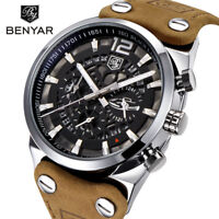 Luxury BENYAR Date Quartz Wrist Watch Genuine Leather Men Military Army Sport