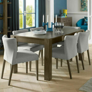 Bentley Designs Milan Dark Oak Extending Dining Dining Table + 6 Chairs/Seats 6