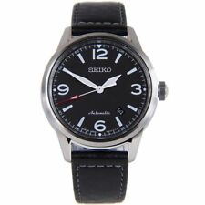 Seiko Men's Black Presage Automatic Watch Black Leather Strap SRPB07J1 RRP £359