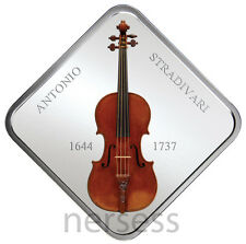 Stradivarius Lady Blunt Violin Niue 2014 $1 Pure Silver Coin with Wood Inlay