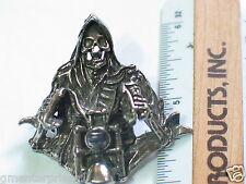 Grim Reaper Motorcycle Pin , 3-D Lapel pin,  (#521) (**)