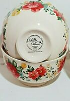 The Pioneer Woman Vintage Floral 2 pc Cereal Soup Bowls footed ruffled rim red