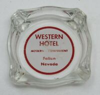 Rare Vintage Western Hotel Glass Advertising Ashtray Fallon Nevada
