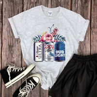 Women's Beer Floral Printed Tee Summer Top Ladies Short Sleeve Cotton T-Shirt