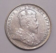 1909 ROUND LEAVES Five Cents EF HIGH Grade SCARCE Date King Edward VII Half Dime