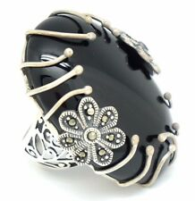 Marcasite Onyx Large Ring Size 52 Silver 925 Sterling Silver