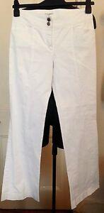 Philosophy Di Alberta Ferretti White Flared Wide Cotton Trousers UK 10 RRP £350