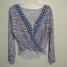 Hollister Boho Hi Lo Blouse Shirt Top Womens size XS Blue White Floral