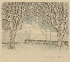 Josef Martin Schibli. Bäume vor verschneiter Dorflandschaft.