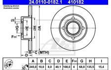 2x ATE Discos de Freno Traseros Pleno 245mm 24.0110-0182.1