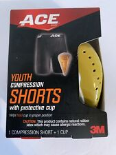 "Ace Youth Compression Shorts With Protective Cup Rubber Latex Waist 18-23"" Nib"