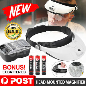 LED Lighted Headband Magnifier Headset Magnifying Glass Loupe 2 LED Lamp Light