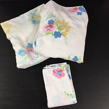Vintage Pacific Sheet Set Full Fitted Flat Pillowcase Floral Blue Pink Fabric