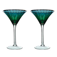 Artland Set of 2 Peacock Martini Glasses Cocktail Drinks Glassware Blue Feathers
