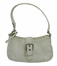 Coach 7542 White Leather Hampton Demi Hobo Small Buckle Handbag Purse