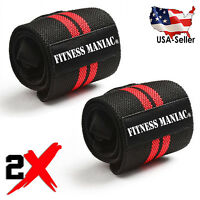 2X Weight Lifting Training Wraps Wrist Support Gym Fitness Cotton Bandage Strap