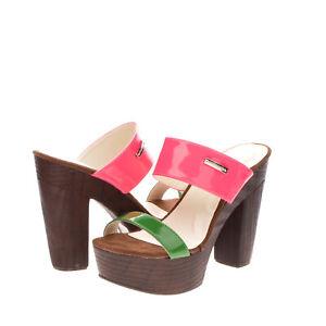 RRP€110 PIERRE CARDIN Mule Clog Sandals EU 39 UK 6 US 9 Heel Platform Varnished