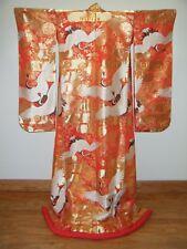 Incredible Nishijin Japanese Uchikake Wedding Kimono w/ Cranes & Extensive Gold