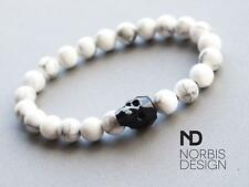 Men's White Howlite Skull Bracelet with Swarovski Crystal 6-9inch Elasticated