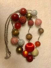 """20"""" fabric, wood, plastic, metal bead necklace red / brown"""