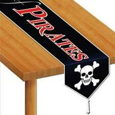 Beware Of Pirates Laminated Paper Table Runner Skull Birthday Party Decoration