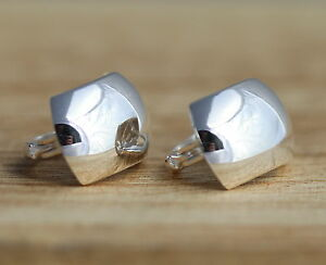 Solid 925 Sterling Silver Plain Earrings Stylish Curved Half Hoop Earrings