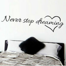 Never Stop Dreaming Inspirational Quotes Wall Art Bedroom Decorative Stickers ..