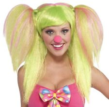 Circus Sweetie Lollipop Lily Clown Wig Green Pink Costume Accessory Pigtails