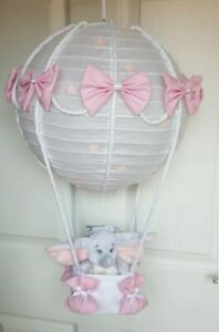 Hot air balloon light shade + Disney dumbo pink looks stunning nursery x