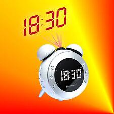 Soundmaster UR140 Weiss Radiowecker Uhrenradio mit Projektion, Dimmer und Licht