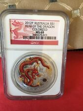 2012 P Australia Silver $1 Year Of The Dragon Colorized MS69 NGC .