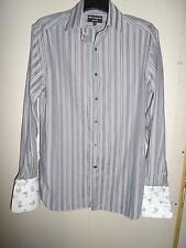 Marks & Spencer Autograph Gris Violet & Turquoise à Rayures NON IRON SHIRT Taille 15