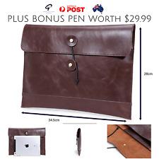Men's Women's Leather Black Brown Document iPad Messenger Satchel Holder Wallet