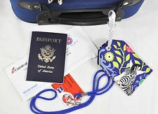 """hand crafted fabric luggage tag secure personal info 3.5"""" X 5.5"""" I see a zebra"""