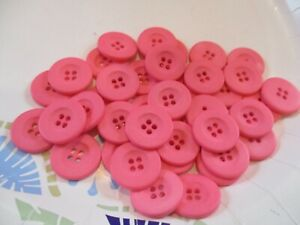 LOT OF 40 PINK COLOR 7/8 INCH 4 HOLE BUTTONS, NEW