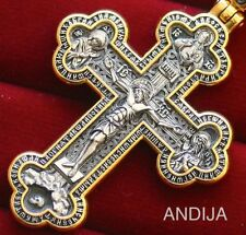 EXCLUSIVE BIG CRUCIFIX SILVER 925+24K GOLD GILD. MOTHER OF GOD VALAAM ICON . NEW