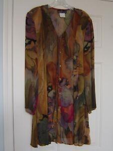 Beautiful Watercolor Carole Little Chiffon Top Tunic Jacket Size 4 M EUC