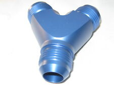 16 AN x 16 AN x 16 AN  Full Flow  Y Block Fitting, Blue Anodized Aluminum