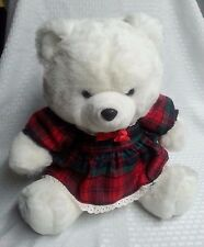 christmas jingle bear white, red and green plaid dress