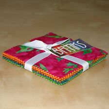 "(42) 5"" Fabric Squares - Batiks Pink Orange Yellow Green - Michael Miller"