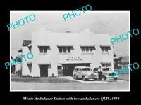OLD LARGE HISTORIC PHOTO OF MONTO QLD, THE QATB AMBULANCE STATION c1950
