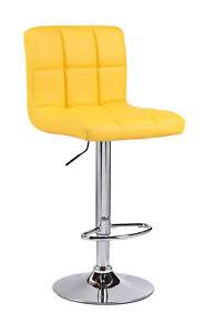 2 Yellow Cuban Faux Leather Breakfast Bar Stool Chair Swivel Kitchen Chrome Gas.