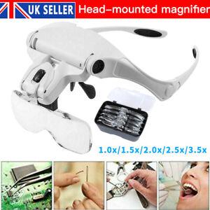 Lightweight Magnifying Glasses Head Light Adjustable 2 LED Magnifier with 5 Lens