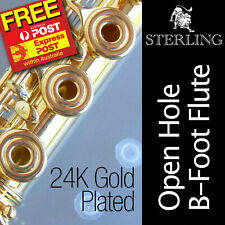 STERLING 24K Gold Plated • 17 Key OPEN HOLE B-Foot FLUTE • OHB • Express