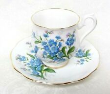 Forget Me Not Coffee Cup & Saucer Royal Albert, English Bone China England New