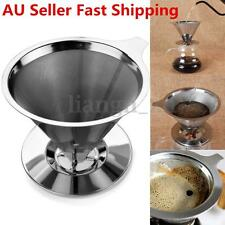 Stainless Steel Pour Over Coffee Dripper Double Layer Mesh Filter With Cup Stand