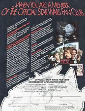 "1983--""STAR WARS""--OFFICIAL FAN CLUB MEMBERSHIP APPLICATION+CERTIFICATE (2)--NMT"