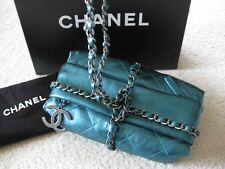 Chanel AUTH Quilted Metallic Turquoise Leather CC Charm Bombay Baluchon Bag NIB