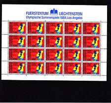 Liechtenstein Jeux Olympiques Los Angeles  1 f    feuille 20 TP n° 789